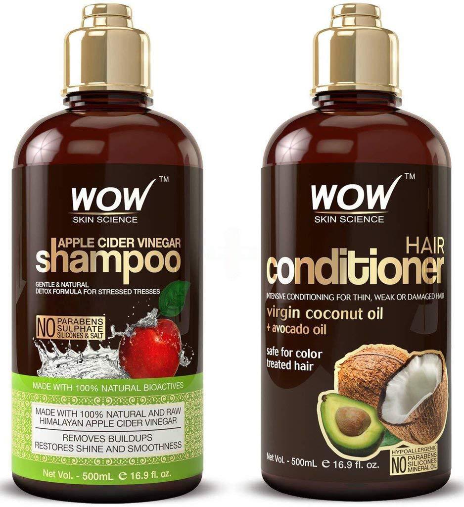 Shampoo de vinagre de manzana de la marca WOW con acondicionador