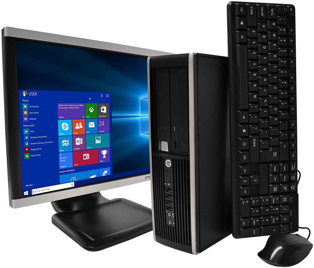 ordenador con monitor y teclado de HP