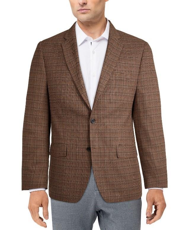 chaqueta marrón de cuadros