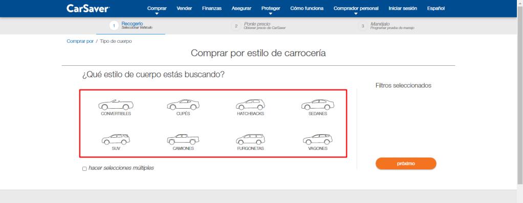 Selección de tipo de vehiculo página web de CarSabver