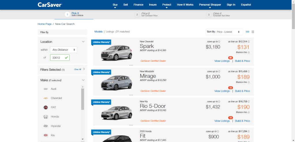 Selección de vehículo en página web de CarSabver