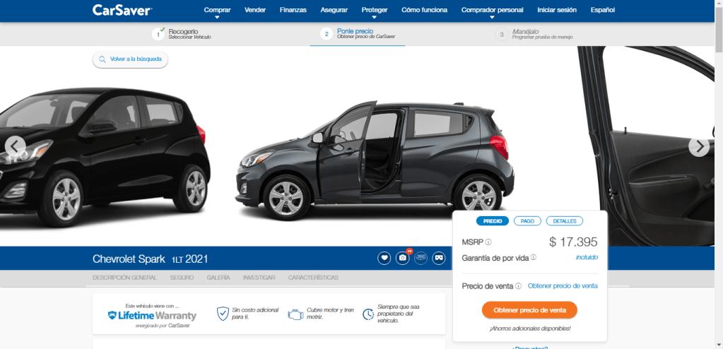 Detalles de vehículo página web de CarSabver