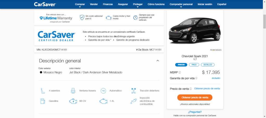 Detalles de vehículo 2 página web de CarSabver