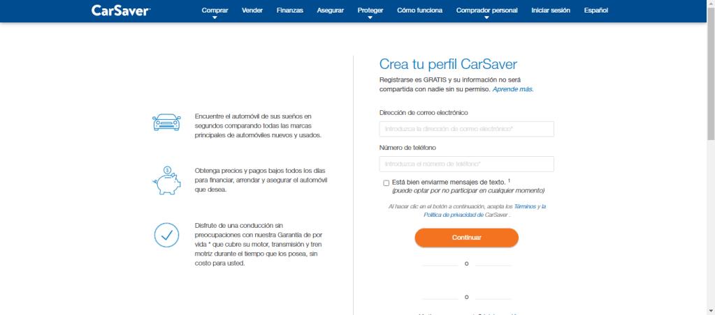 Registro en página web de CarSabver