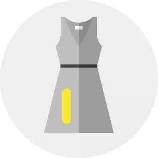 vestido con etiqueta amarilla