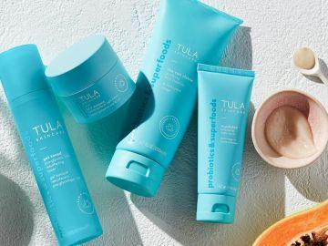 productos de Tula Skincare con probioticos