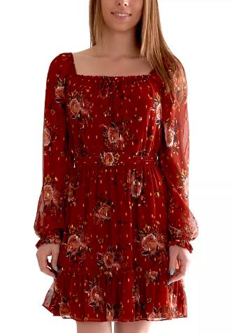 vestido rojo floreado