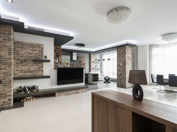 cocina y sala remodelada
