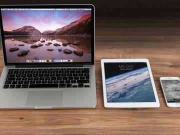 Laptop, tableta y celular Apple