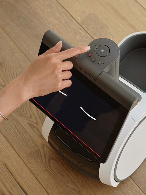 Pantalla y botones de Astro el robot de Amazon