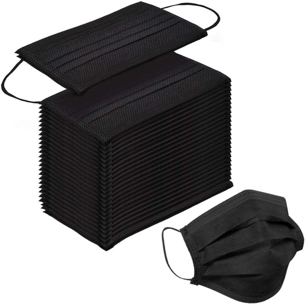 Paquete de tapabocas negros Sooqoo