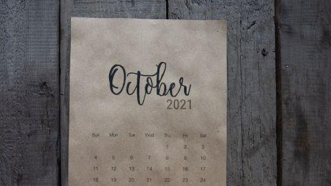 Calendario con el mes de Octubre